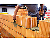 Building Construction, Construction Site, Brick Wall, Bricklayer