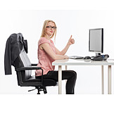 Young Woman, Office & Workplace, Desk, Super