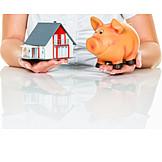 Sparschwein, Bausparen, Modellhaus, Hauskauf