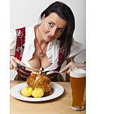 Woman, Eating & Drinking, Bavarian Cuisine, Eisbein