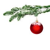 Christmas, Fir Branch, Christmas Ball