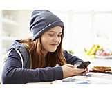 Girl, Teenager, Mobile, Chatting
