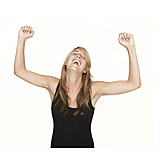 Woman, Enthusiastic, Cheering
