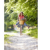 Young Woman, Bicycle, Fun, Cheerful, Cyclist