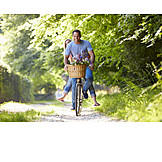 Couple, Summer, Loving, Cycling