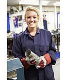 Frau, Industrie, Lehrling, Werkstatt, Metallindustrie