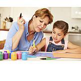 Grandmother, Fun & Games, Painting, Grandchild