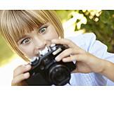 Girl, Enthusiastic, Camera, Photograph