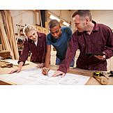 Auszubildende, Technische Zeichnung, Tischlerei