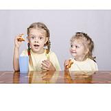 Girl, Eating & Drinking, Breakfast, Croissants