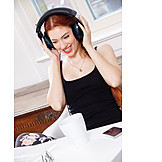 Young Woman, Leisure & Entertainment, Listening To Music