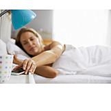 Woman, Mobile Phones, Bedroom, Waking Up