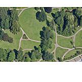 Parkanlage, Luftaufnahme, Landschaftsarchitektur
