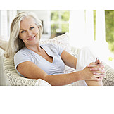 Woman, Senior, Relaxed, Satisfied