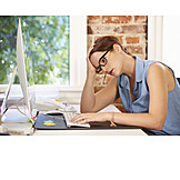 Young Woman, Office & Workplace, Exhausted, Stress & Struggle