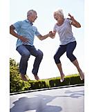 Senior, Senior, Vitality, Bouncing, Trampoline, Older Couple