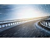 Street, Weather, Snowing, Slippery