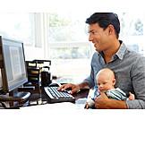 Man, Parental Leave, Home Office
