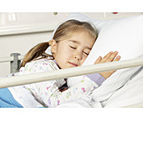 Child, Girl, Sleeping, Patient, Hospital Bed
