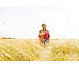 Young Woman, Summer, Wind, Hippie