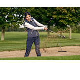 Woman, Golf, Motion