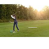 Woman, Golf, Active, Tee Box