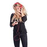 Young woman, Listening music