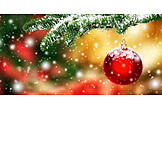 Fir branch, Christmas ball, Winterly