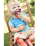 Toddler, Painted, Finger Painting