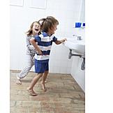 Laughing, Bathroom, Siblings