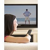 Frau, Fernsehen, Fernseher
