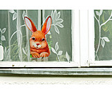 Easter bunny, Easter decoration, Window glass