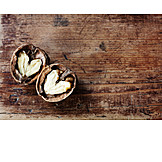 Copy space, Wood, Heart, Walnut
