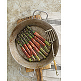Green asparagus, Bacon, Country style
