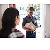 Woman, Receive, Parcel service, Postman, Messenger