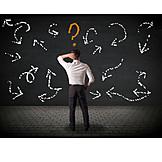 Geschäftsmann, Richtung, Ratlos, Fragezeichen