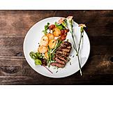 Meal, Served, Rib eye steak