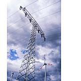 Strommast, Windrad, Alternative Energie