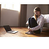 Woman, Anxious, Laptop, Bedroom