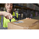 Young Woman, Logistics, Scanning, Warehouse, Warehouse Clerk
