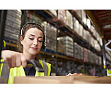Young Woman, Logistics, Scanning, Warehouse Clerk, Mail Order Company