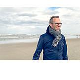 Man, North Sea, Breezy, Autumn Clothing