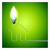 Ecologically, Light Bulb, Low Energy House