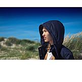 Girl, Beach, Wind