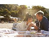 Paar, Picknick, Strandurlaub