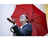 Business Woman, Weather, Umbrella, Optimistic
