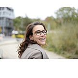 Woman, Happy, Glasses