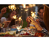 Sparklers, Dinner, Garden party