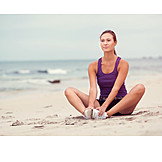 Woman, Sports & Fitness, Beach, Stretching