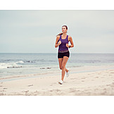 Woman, Beach, Running